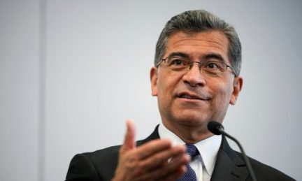 Secretary of Health and Human Services Xavier Becerra speaks to the press in Washington on May 5, 2021. (Drew Angerer/Getty Images)