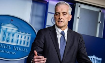 Secretary of Veterans Affairs Denis McDonough speaks during the daily press briefing in the Brady Press Briefing Room at the White House on March 4, 2021. (Samuel Corum/Getty Images)
