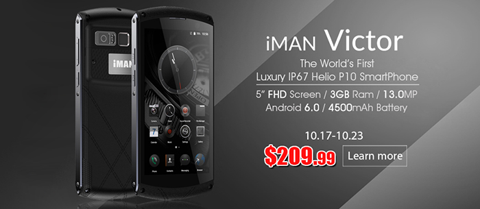 13% OFF iMAN Victor 4G LTE Tri-proof Smartphone,Now $209.00 Only, Expires:Oct.23@TOMTOP.com