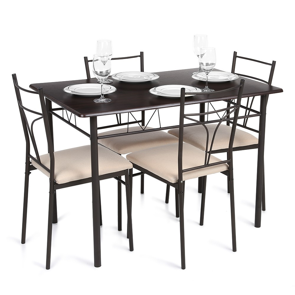 kitchen table and chair sets 4 person kitchen table ikayaa 5pcs modern metal frame dining kitchen table chairs set for 4 person kitchen furniture kg load capacity