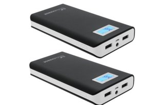 LifeCHARGE JuicyPACK 16,800 mAh Dual USB Power Bank with LCD Display – 2 Pack