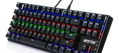 Gaming Keyboard, BESTEK Chroma Backlit Clicky Mechanical Keyboard with Blue Switch, 87 Anti-ghosting Keys