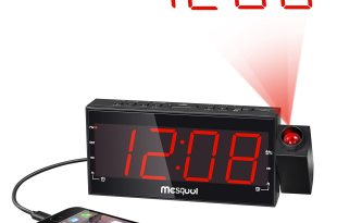 Mesqool AM/FM Digital Dimmable Projection Alarm Clock Radio with 1.8″ LED Display,USB Charging,Dual Alarm,Battery Backup