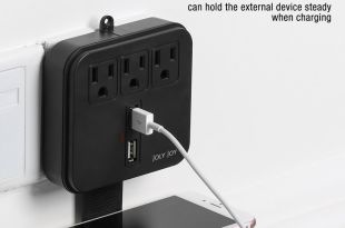 ETL Listed Portable USB Power Strip Wall Mount Surge Protector with Phone Holder, JolyJoy Wall Outlet Mini Receptacle With 2.4A Dual Smart USB Charger Station (Black)