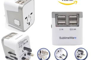 International Power Adapter 4 Port USB Wall Charger 3500mA USB Charge Ports Type I , Type C , Type G , Type A EU US UK CHINA World Travel Adapter – Best Universal Adapter Plug (Silver) By SublimeWare