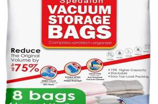 Vacuum Storage Bags – Pack of 8 – 4 Large (40×31) + 4 Medium (31×25) ReUsable space saver with free Hand Pump for travel packing – Best Seal Bags for Clothes, Comforters, Pillows, Curtains, Blankets