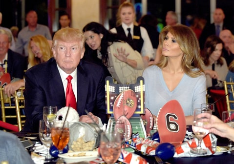 President Donald Trump and first lady Melania Trump attend a Super Bowl party at Trump International Golf Club in West Palm Beach, Fla., Sunday, Feb. 5, 2017.