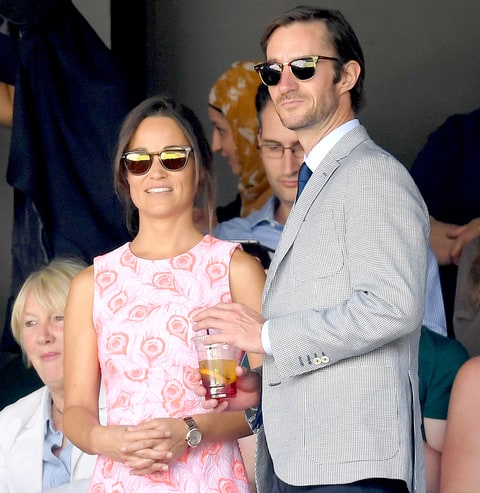 Pippa Middleton and James Matthews attend day nine of the Wimbledon Tennis Championships at Wimbledon on July 06, 2016 in London, England.