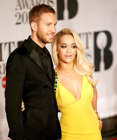 Rita Ora and Calvin Harris attend the 2014 BRIT Awards at 02 Arena on February 19, 2014 in London, England.