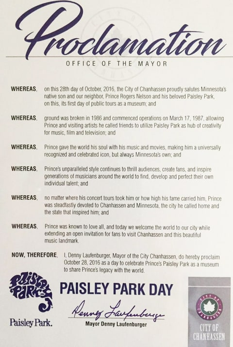 Mayor, Declares, Paisley Park Day, Prince, Museum, Opens