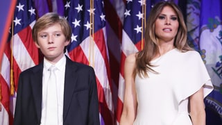 Melania, Barron Trump Surrounded by Secret Service During Pizza Lunch