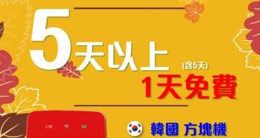 日本/韓國上網分享器WIHO∥ 推薦與促銷活動 - 韓國方塊機139元/日,再加碼租5天享1天免費,全機型優惠8折