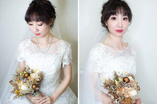 深髮色新娘來看這篇~編髮搭配不凋花白紗造型