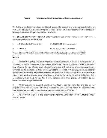 Provisional Selection List for the Post of Assistant Professor under ...