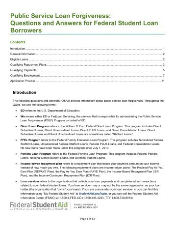 Employment Certification for Public Service Loan Forgiveness â Form