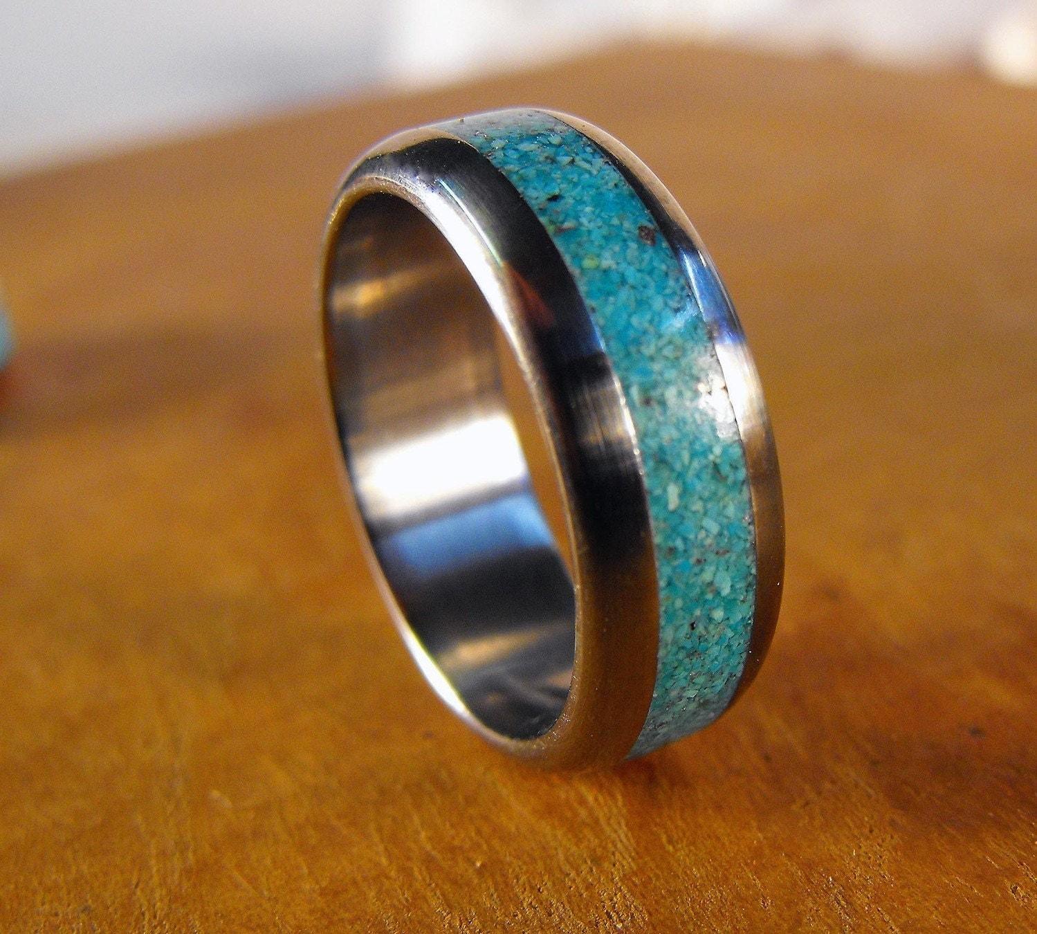 titanium ring turquoise ring wedding turquoise wedding bands zoom