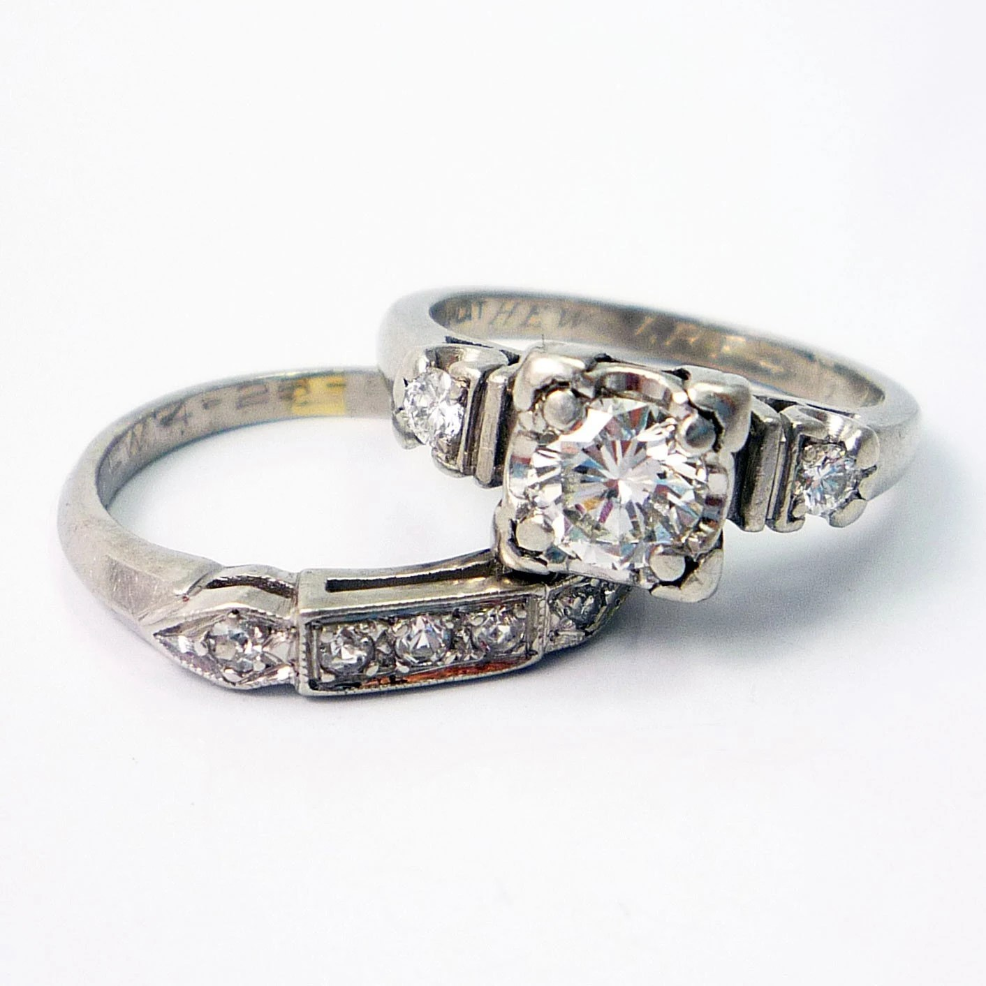 old fashioned wedding ring sets antique wedding ring sets Old fashioned wedding ring sets Retro s Diamond Engagement Wedding Ring Band Set Zoom