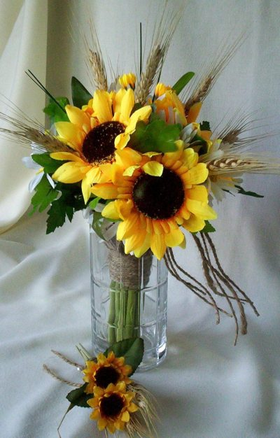 Sunflower Bridal Bouquet Country Twine Wrap Daisies Wheat