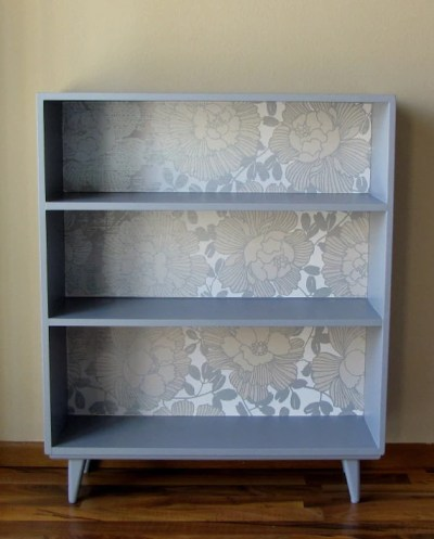 Painted Bookcase with Wallpaper Back