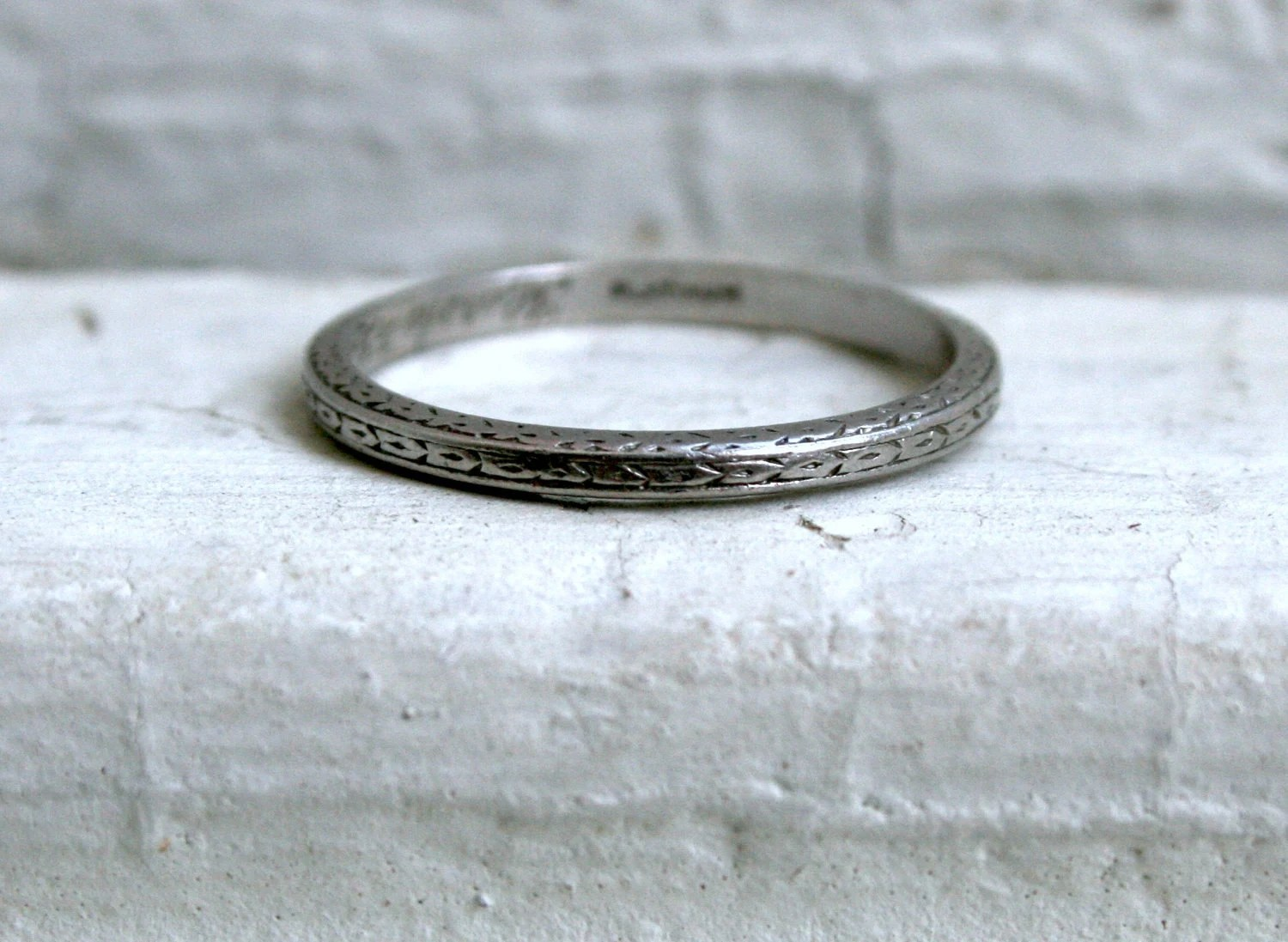 sweet hand etched antique platinum vintage wedding band Antique Platinum Wedding Band zoom