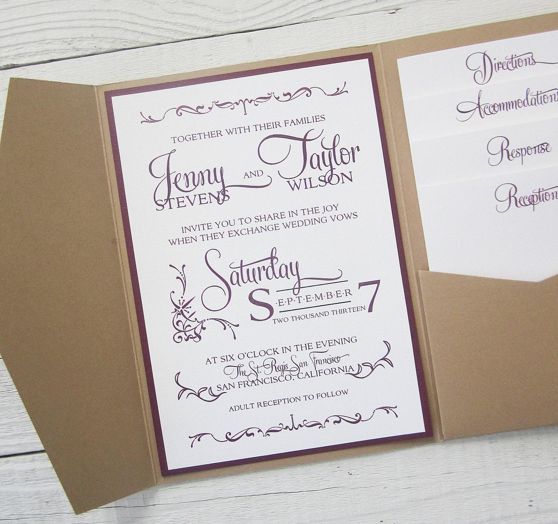 rustic kraft wedding invitation pocket thermography wedding invitations zoom