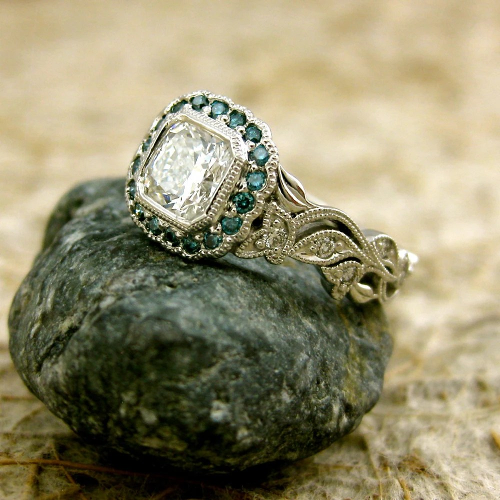 radiant cut diamond engagement ring in turquoise wedding bands zoom