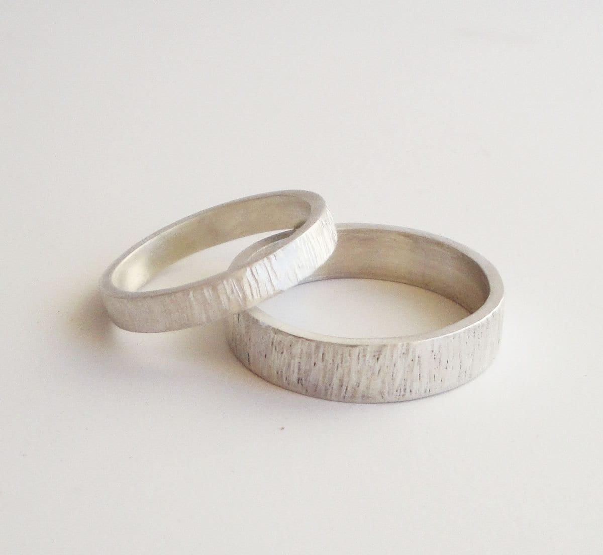 simple wedding rings set handmade unique wedding band sets zoom