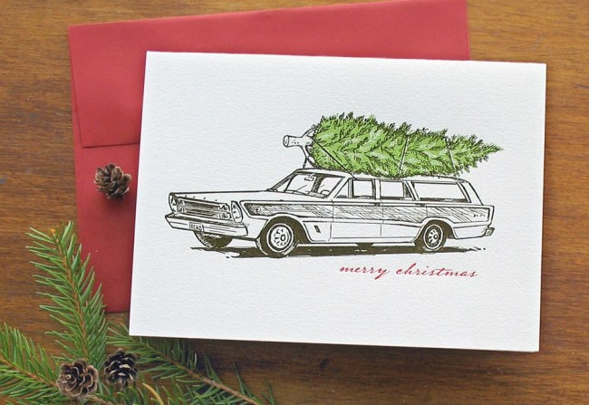 Retro Station Wagon with Christmas Tree - Letterpress Holiday Cards (set of 8)