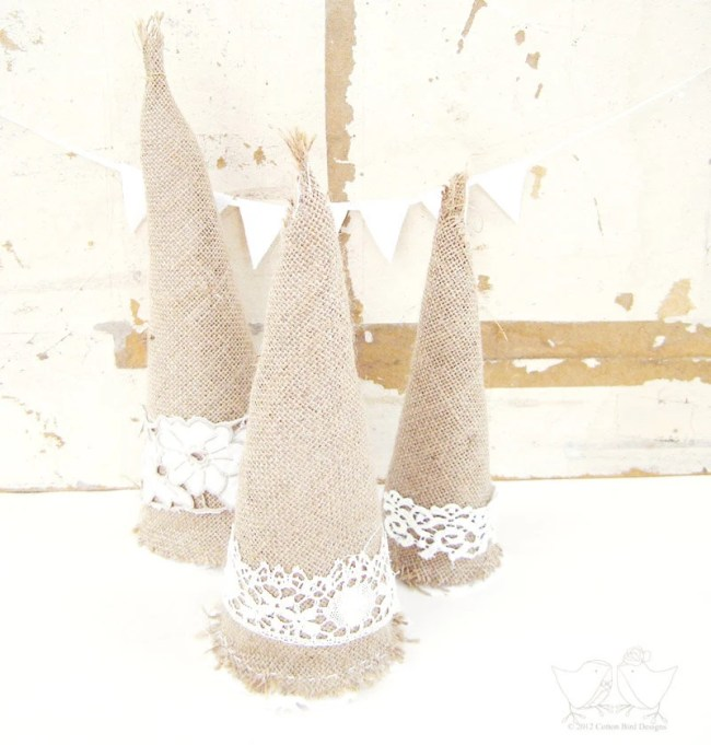 Christmas Trees Burlap  and Lace Rustic Country Home Handmade Christmas Decor
