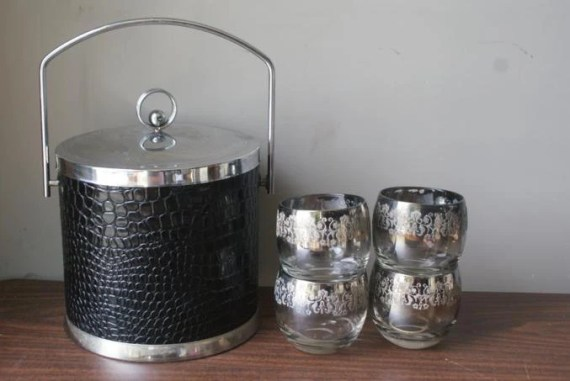 Sale Madmen Chic Champagne Bucket. Faux Black Crocodile Chrome Bucket Silver Trim. Impeccable Inside. Smoky Glam Damask Roly Poly Glasses