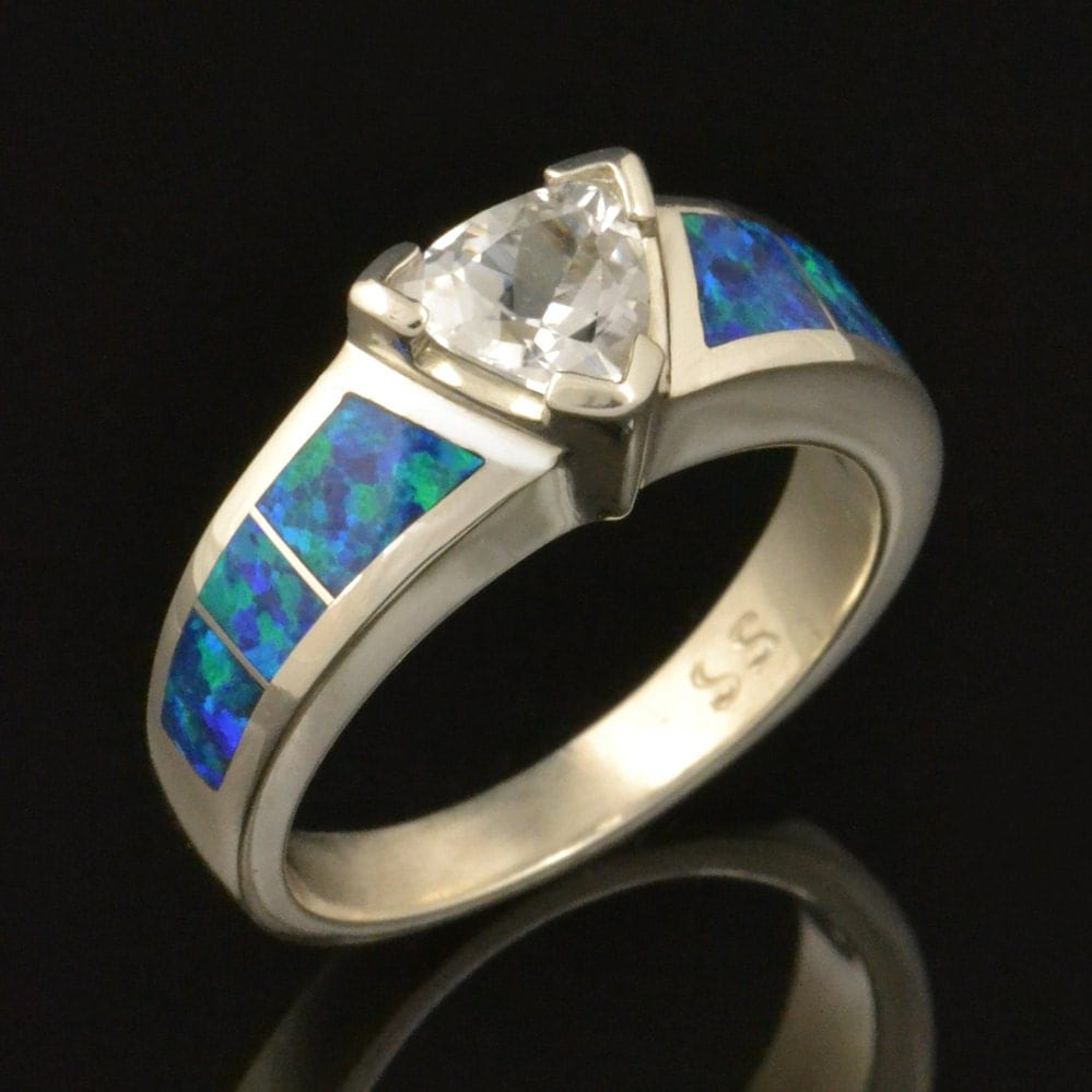 lab created opal engagement ring with opal wedding rings Opal Engagement Ring with Trillion White Sapphire zoom