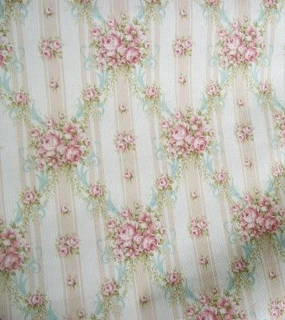 Vintage French Wallpaper 1940s cottage roses and ribbons