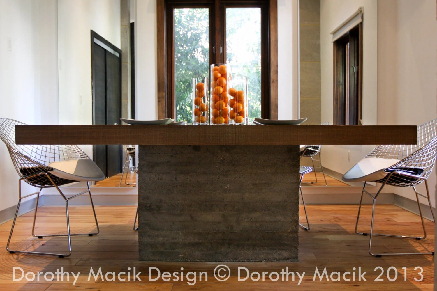 custom concrete and wood dining table concrete kitchen table Custom Concrete and Wood Dining Table Rectangular zoom
