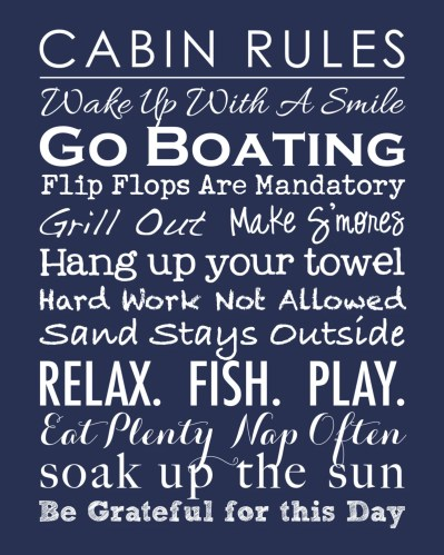 "Subway Art Lake House Family Rules Poster Print - Cabin, Lake or Beach House - Housewarming Gift - Hostess Gift 11""x14"""