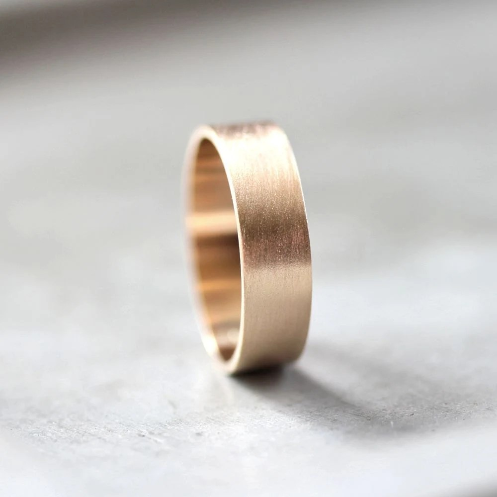 wide wedding band wide wedding bands Men s Gold Wedding Band 6mm Wide Brushed Flat 10k Recycled Yellow Gold Men s Wedding Ring Gold Ring Made in Your Size