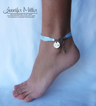 Something Blue Ribbon Wedding Anklet for Bride