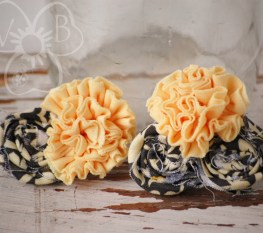 Sophisticate ruffle and rosette collage in yellow and gray Dolly & Me set of 2 accessories