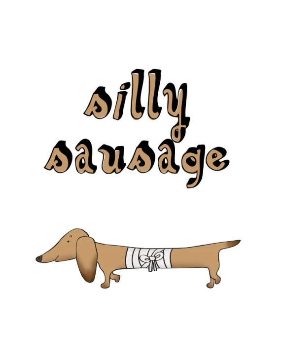 Silly sausage - get well soon card Dachshund funny dog cute