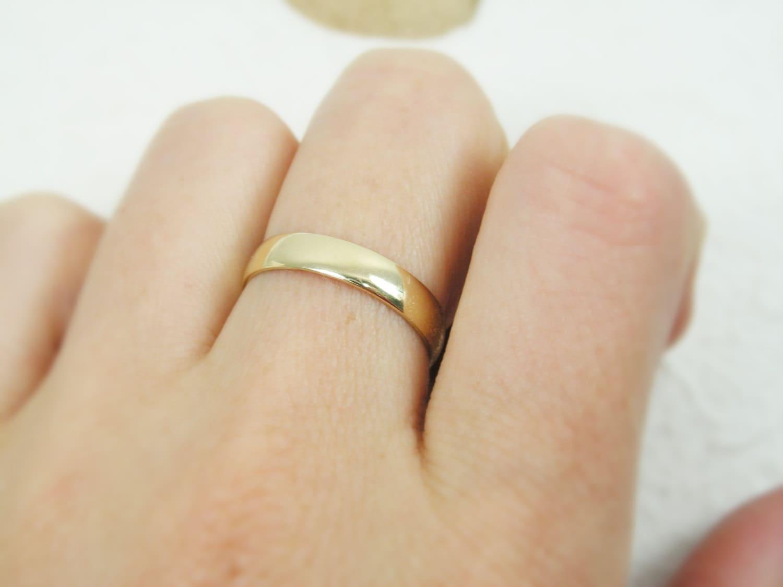 classic 4mm rounded wedding band 14k unisex wedding bands Unisex wedding ring for men or zoom
