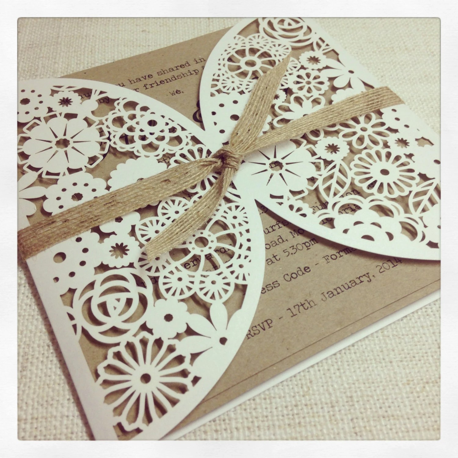 wedding invitation laser cut laser cut wedding invitations Rustic Fl Laser Cut Wedding Invitation
