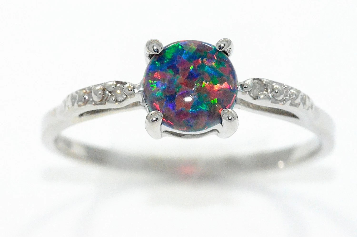 black opal ring opal wedding rings Black Opal Diamond Round Ring Sterling Silver Rhodium Finish