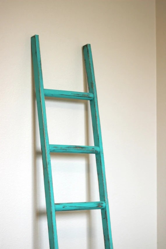 Ladder Vintage Rustic, Emerald Green with walnut distressing