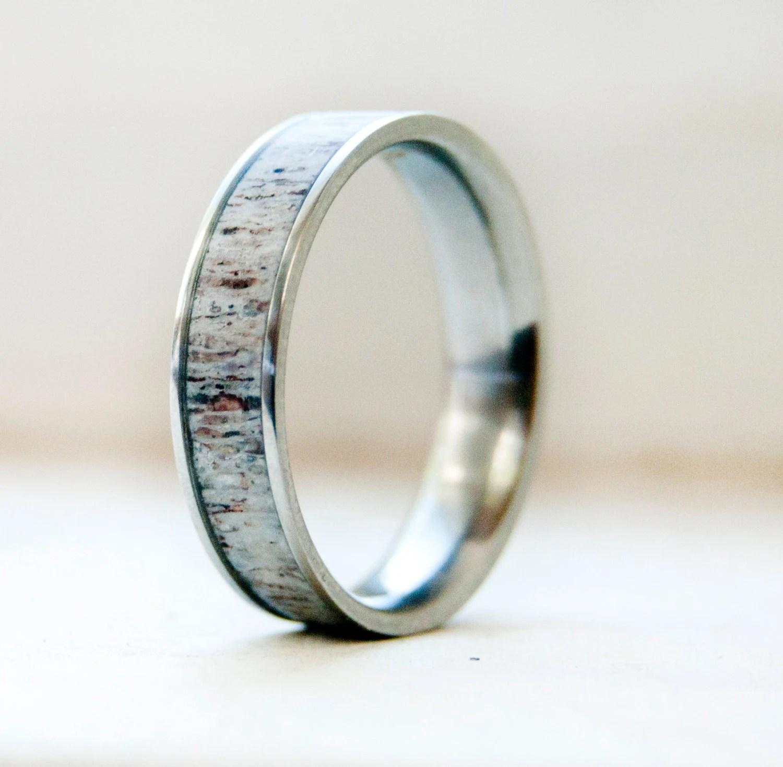 deer antler ring mens wedding rings titanium Mens Wedding Band w Antler Inlay Wedding Ring Staghead Designs