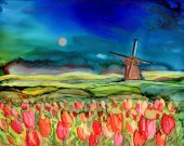 "Print of Alcohol Ink painting. 5 1/2 x 7,  white mat 8x10- ""Welcome to Holland""- Tulips-landscape"