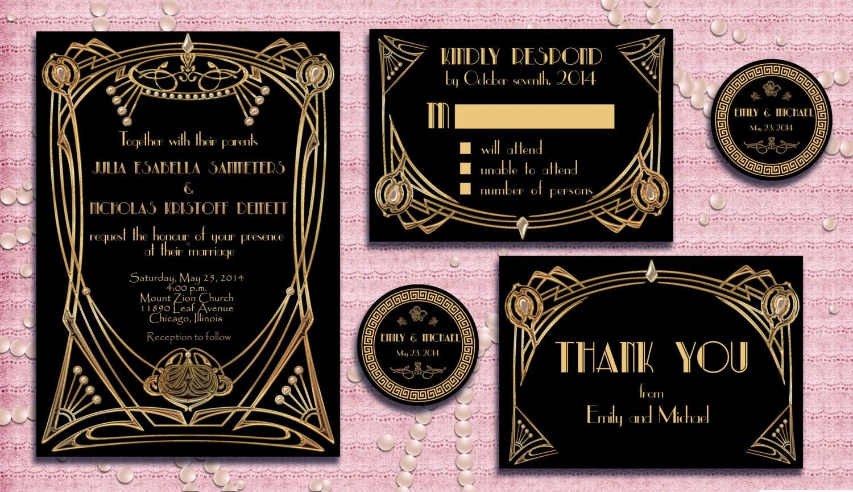 great gatsby style art deco wedding gatsby wedding invitations zoom