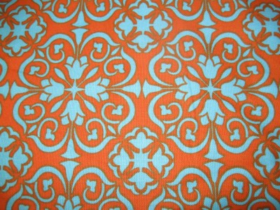 Gorgeous ORANGE and TEAL WALLPAPER Handmade Cotton by lillysattic2