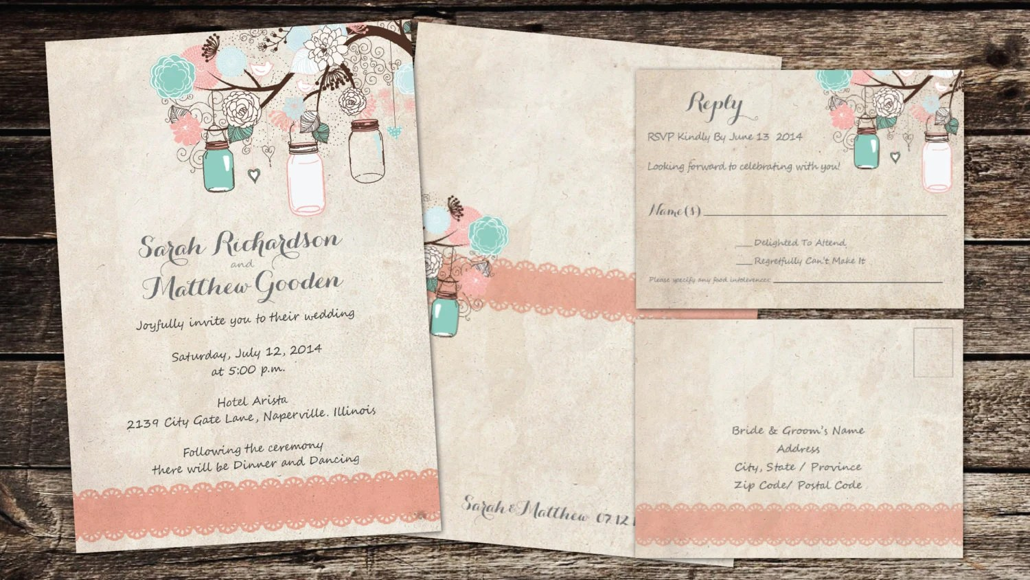 vintage peach wedding invitations tiffany blue wedding invitations peachcoral mason jars flowers u wedding invitations tiffany blue vintage accents