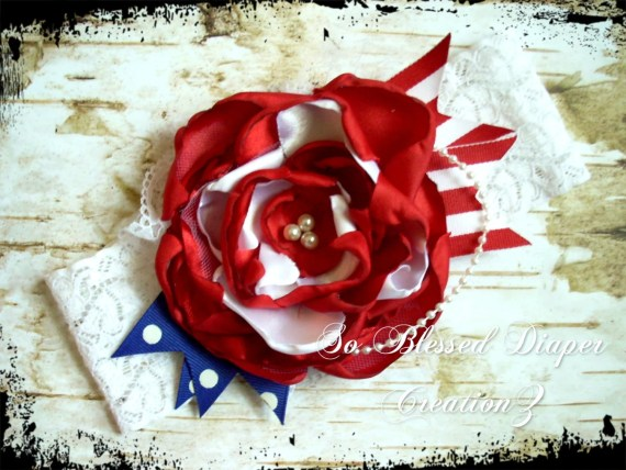 "Red, White, & Blue ""Miss America"" Couture Headband - Fourth of July Headband - Photo Prop"