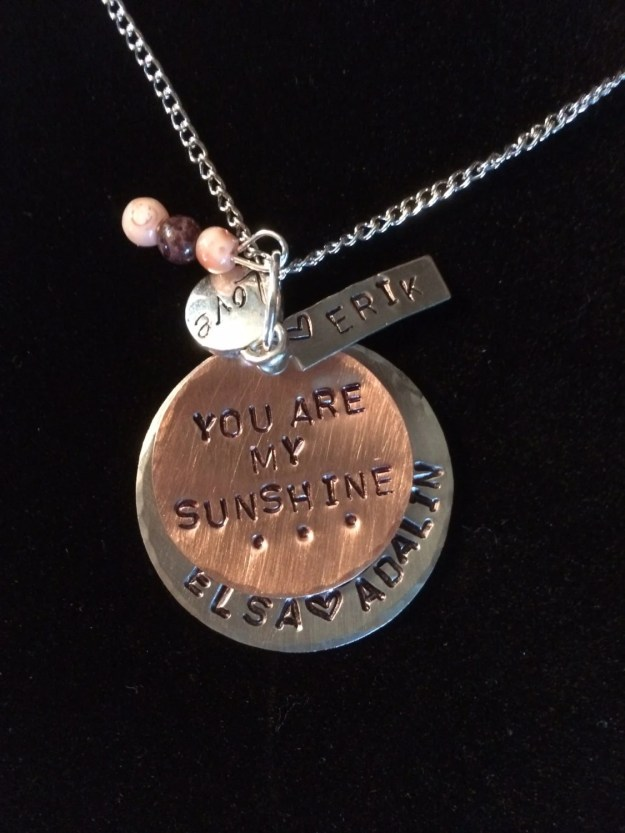 Personalized Hand Stamped  Mother Keepsake Necklace