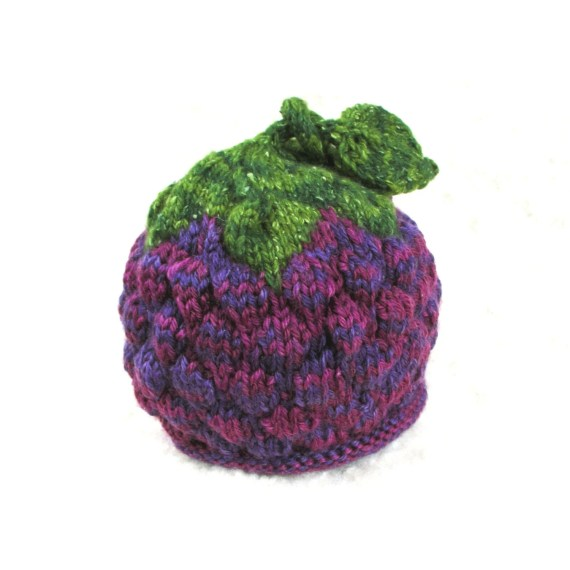 Raspberry Blackberry Grapes Hat - Baby Size - Soft Hand Knit - Made to Order